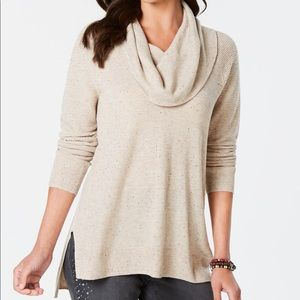 STYLE & CO Beige Tweed Hi-Lo Pullover Sweater L